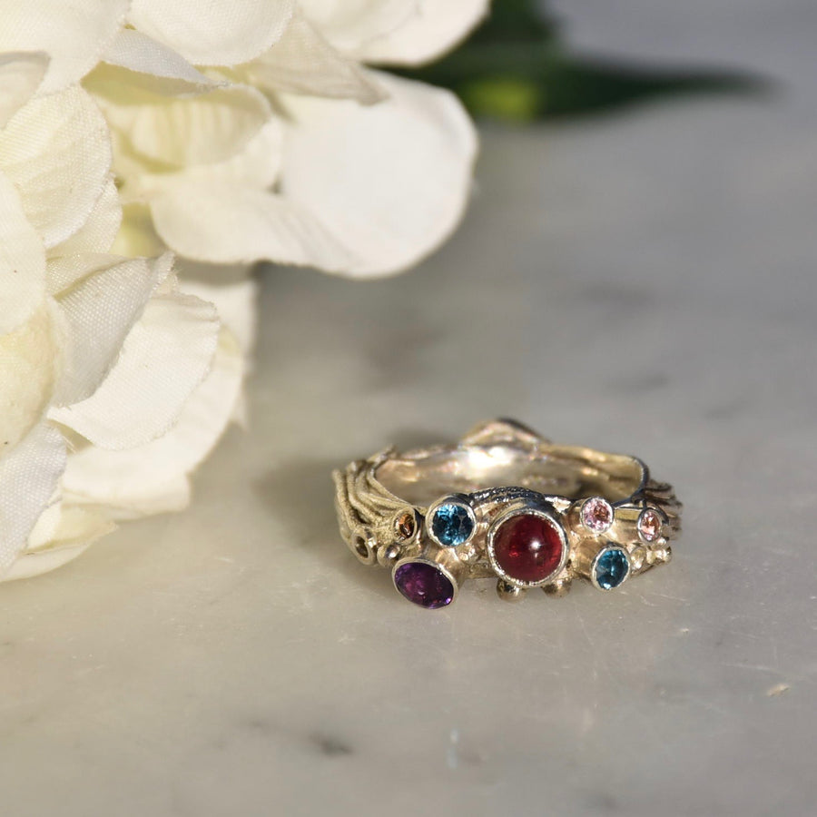 Twisted Garnet, Amethyst & Topaz Ring