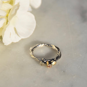 Twisted gold and silver topaz Ring