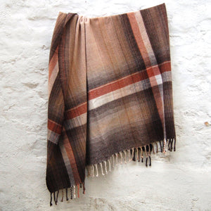 Hand Woven Lambswool Brown Blanket