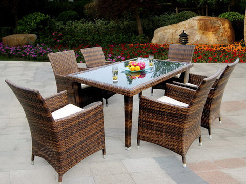 Maui 7 Piece All Weather Wicker Dining Set U2013 Brown