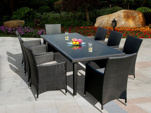 Maui 9-Piece All-Weather Wicker Dining Set