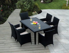 Maui 7-Piece All-Weather Wicker Dining Set – Black