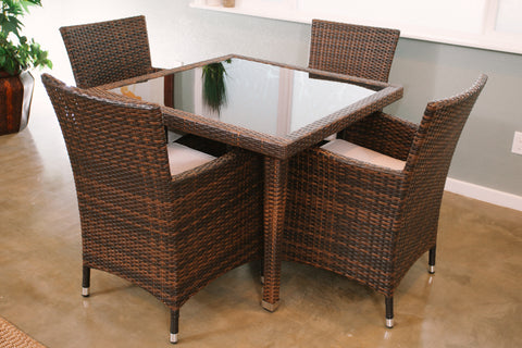 Maui 5 Piece All Weather Wicker Patio Dining Set Creative Island