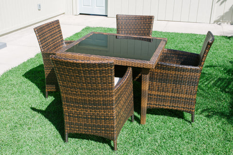 Enjoyable Maui 5 Piece All Weather Wicker Patio Dining Set Interior Design Ideas Clesiryabchikinfo