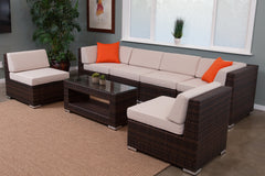 Keana 7-Piece All-Weather Wicker Sectional Set