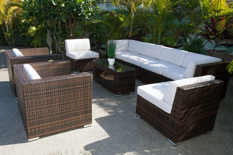 Kona 9-Piece All-Weather Wicker Sectional Set
