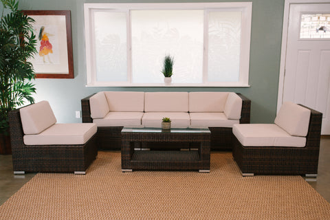 Lehua 6-Piece All-Weather Wicker Sectional Set