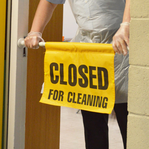 "Hanging Door Fitting Sign ""Closed for Cleaning"""