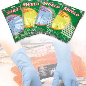 Medium weight, coloured rubber household gloves: S, M, L & XL (Pair)