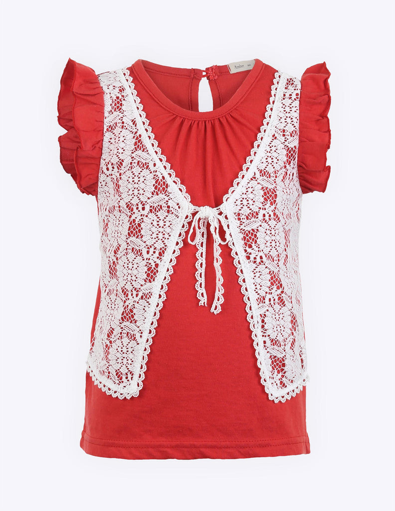 Frilled Sleeve Lace Blouse