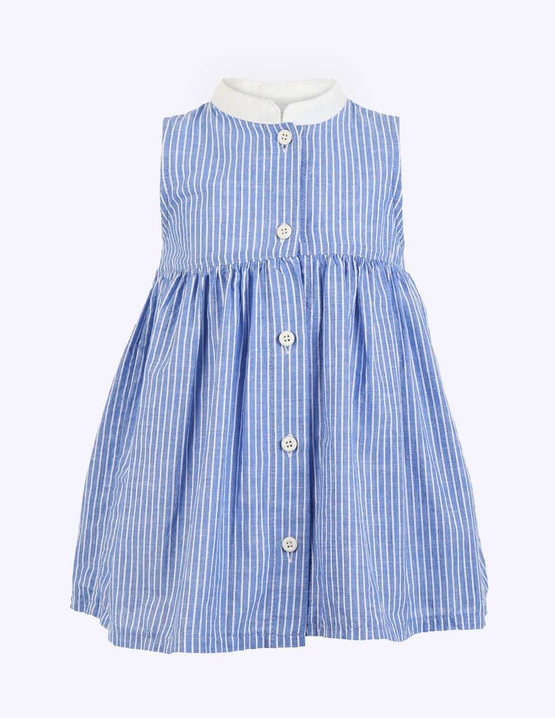 Nehru Collar Striped Dress