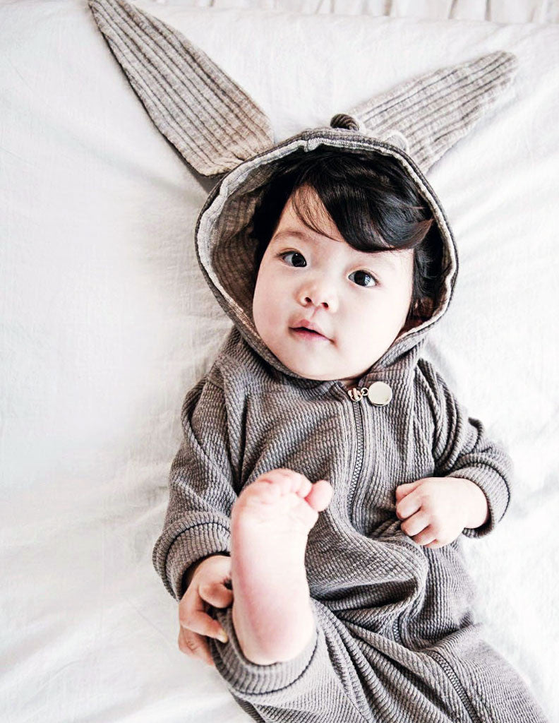 Bunny Hooded Jumpsuit Grey