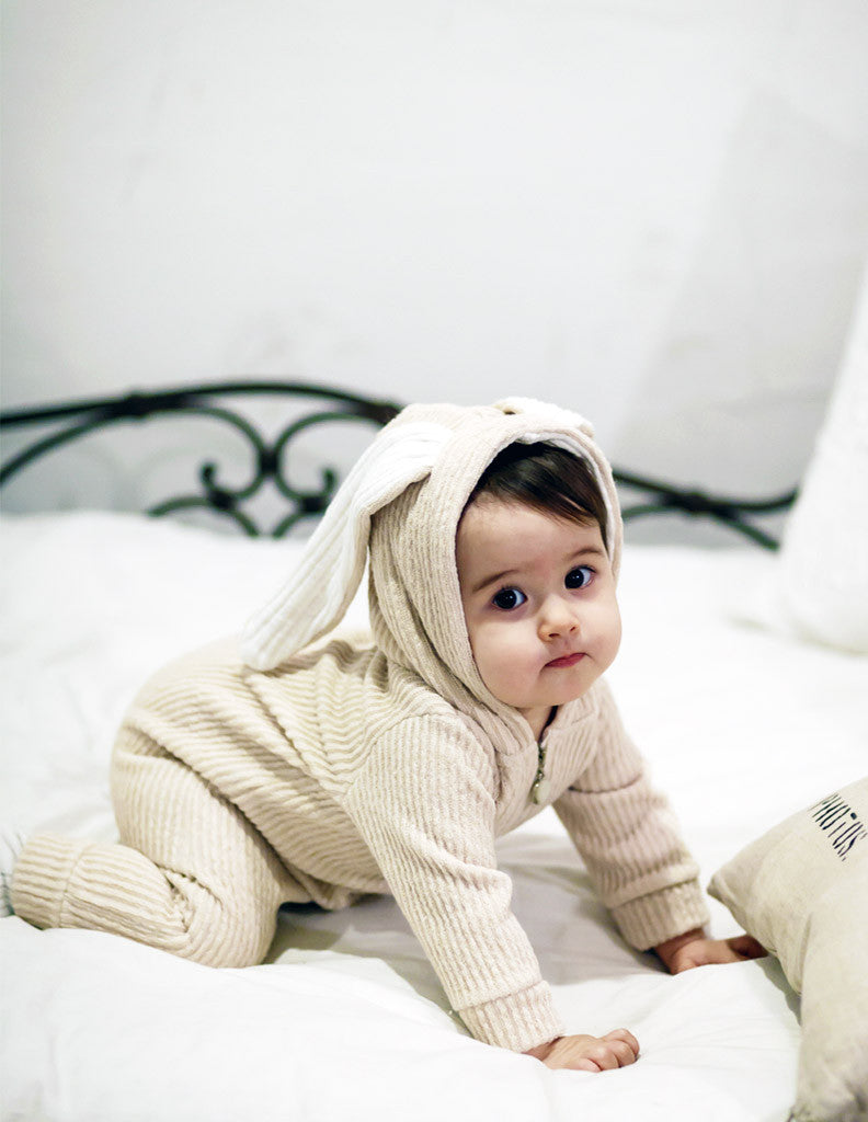 Bunny Winter Hooded Jumpsuit Cream