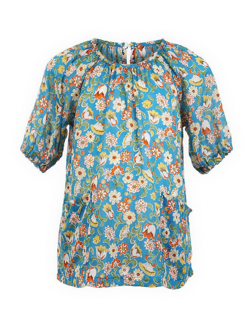 Floral Tunic Dress Blue
