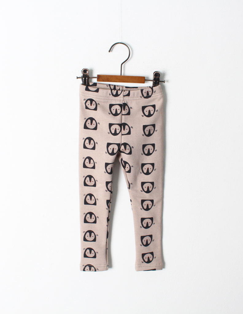 Penguin Print Leggings Beige