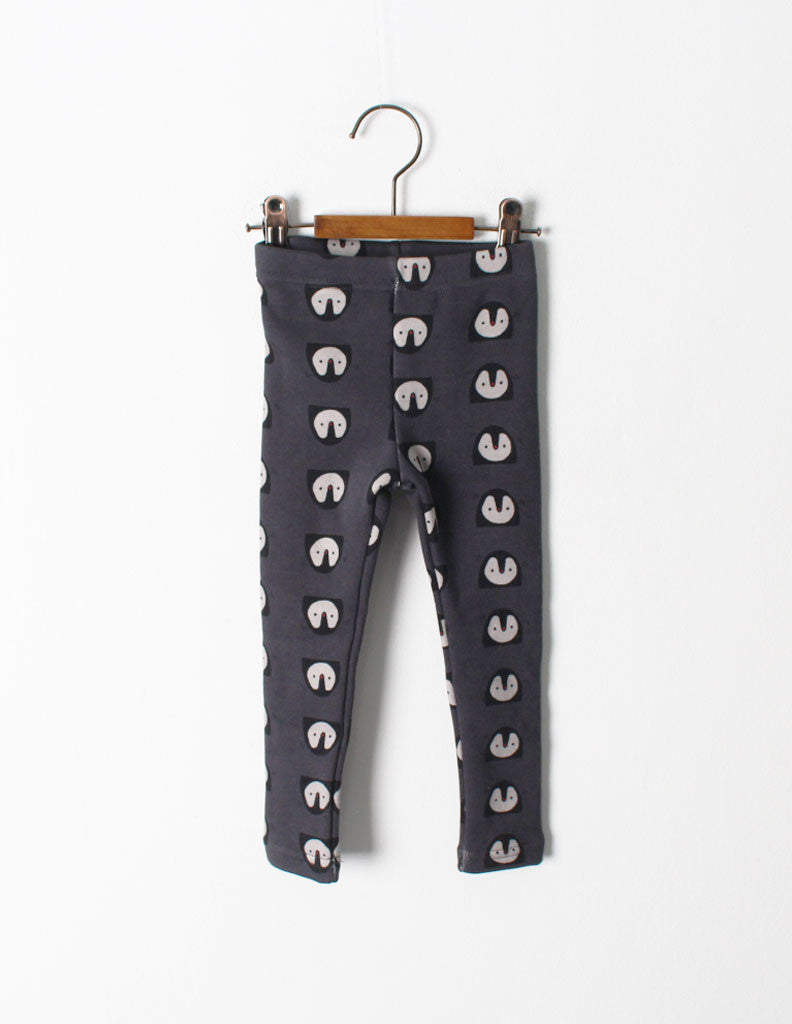 Penguin Print Leggings Charcoal