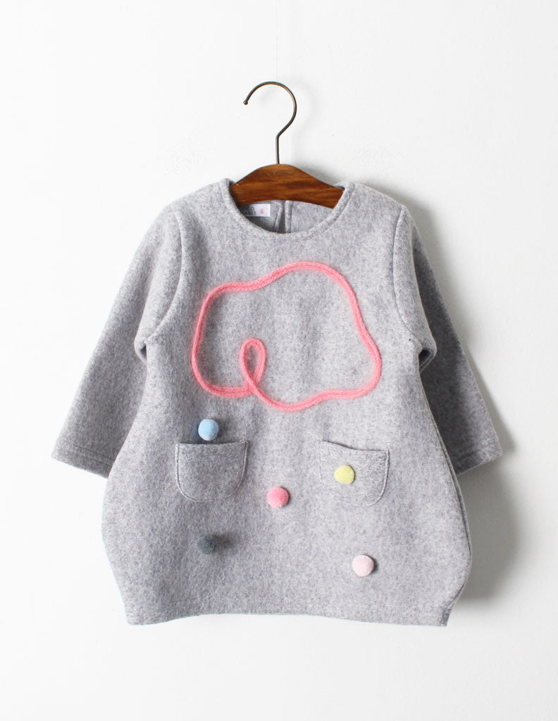 Pom-Pom Cloud Tunic Grey