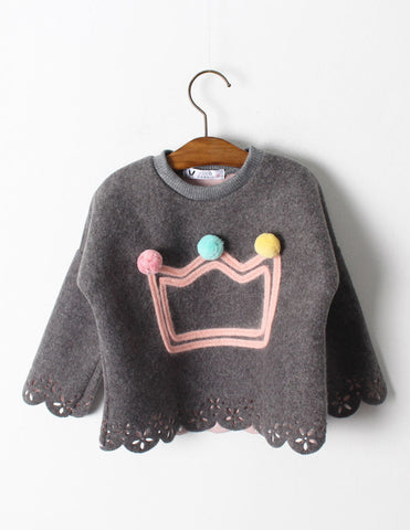 Pom-Pom Crown Blouse Grey