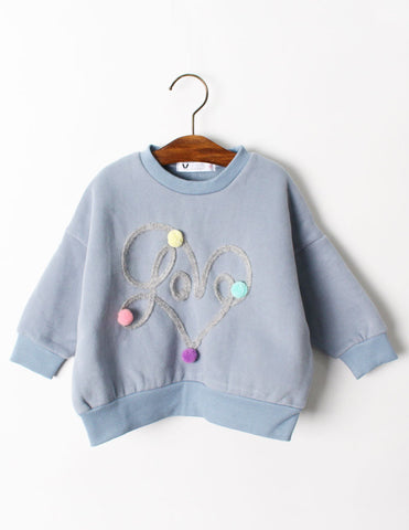 Pom-Pom Heart Jumper Blue