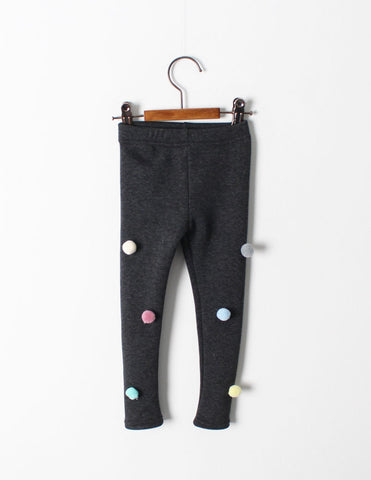 Pom-Pom Winter Leggings Charcoal