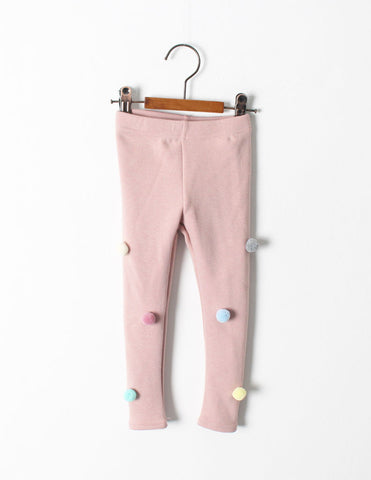 Pom-Pom Winter Leggings Pink