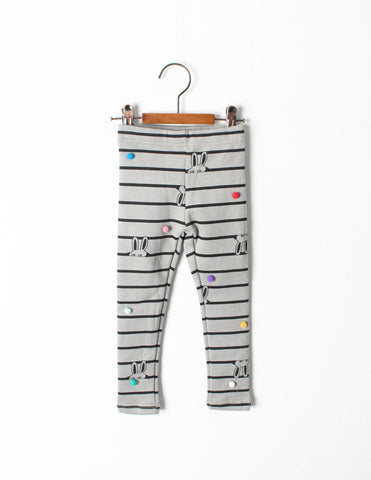Pom-Pom Stripe Leggings Grey