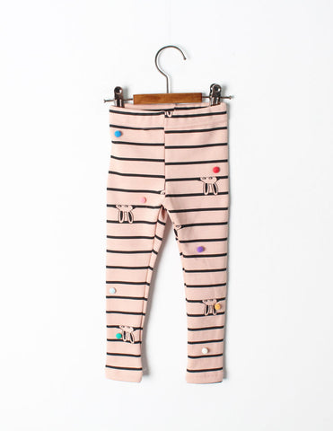 Pom-Pom Stripe Leggings Pink