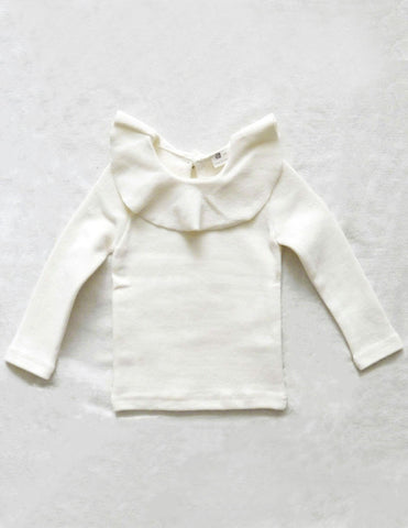 Ruffle Collar Blouse Winter Cream