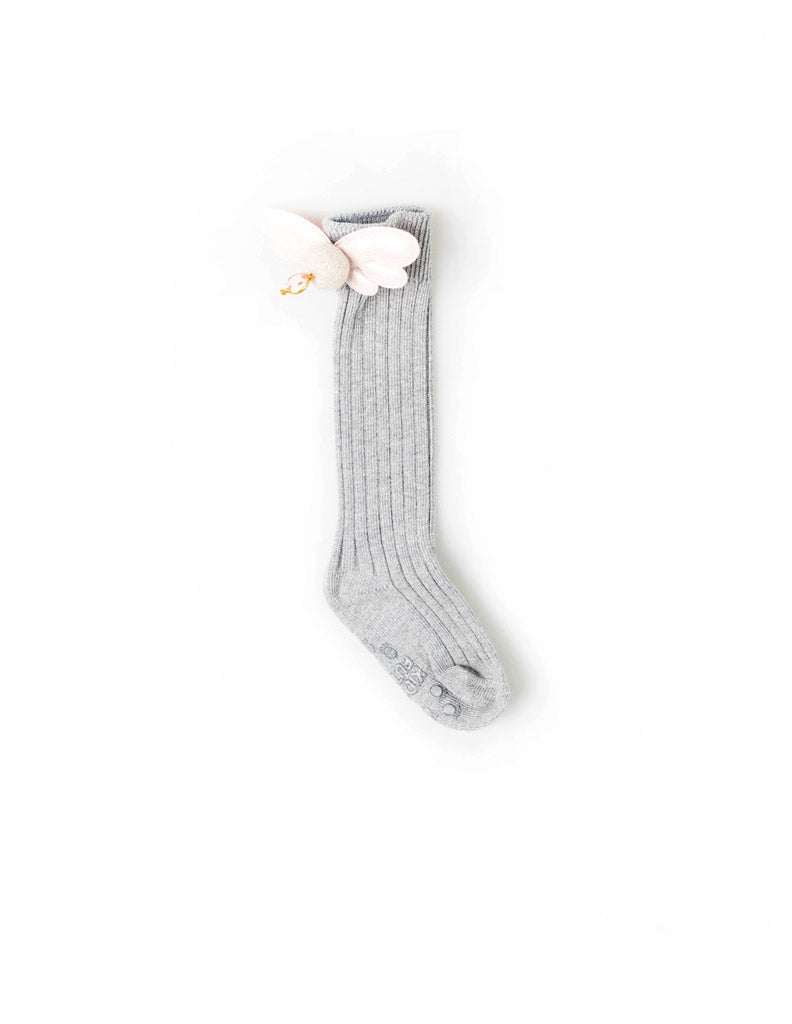 Angel Wings Knee Socks Grey