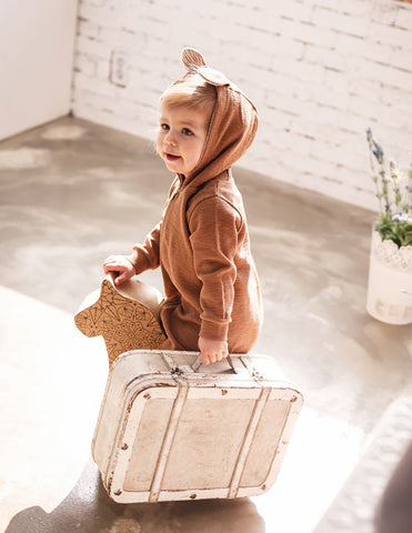 Bambi Hooded Jumpsuit Brown