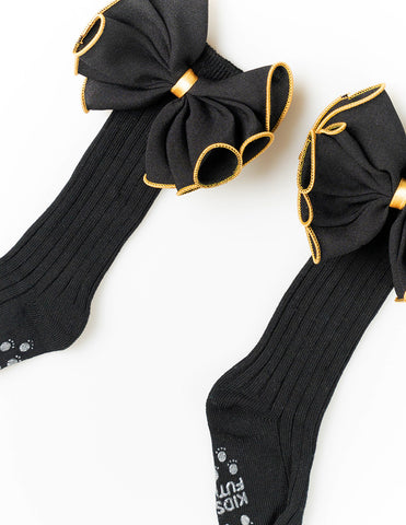 Bow Knee Socks Black