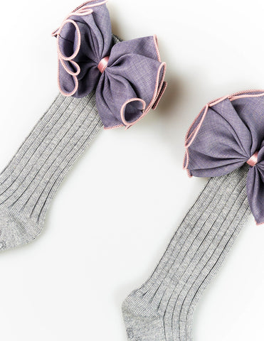 Bow Knee Socks Grey