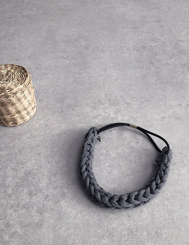 Braided Hairband Charcoal