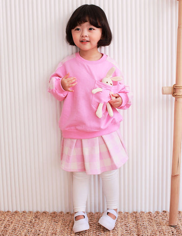 Bunny Pocket Jumper and Skirt Leggings Set Pink