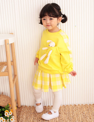 Bunny Pocket Jumper and Skirt Leggings Set Yellow