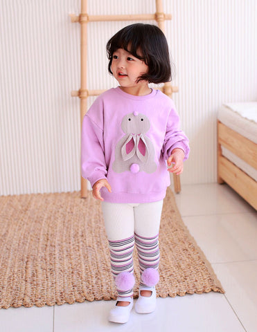 Bunny Pom Pom Jumper and Leggings Set Lilac