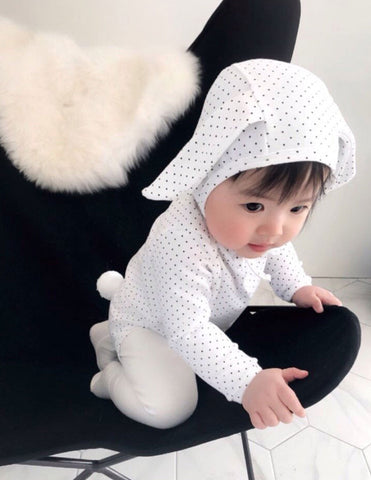 Polka Bunny Romper and Bonnet Set