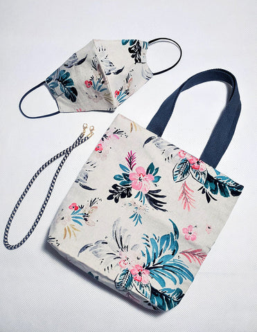 Floral Cotton Face Mask And Shoulder Bag Set Grey