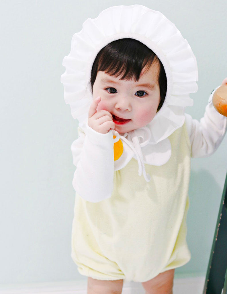 Egg Suit Romper and Bonnet Set Cream