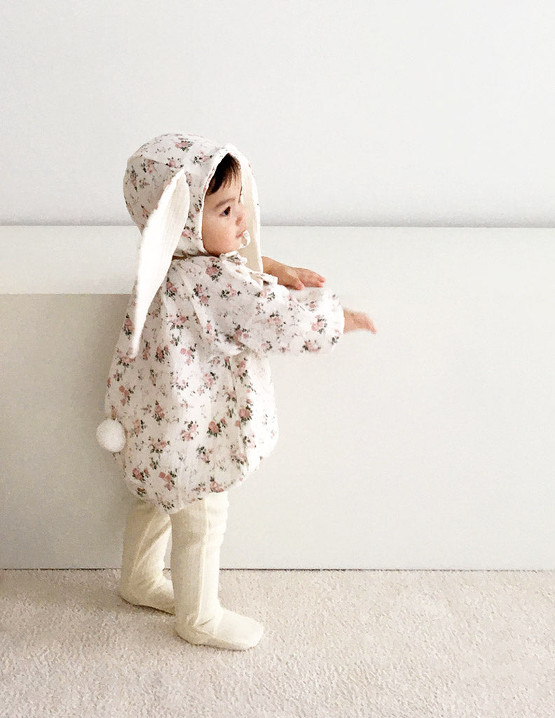 Flower Bunny Romper and Bonnet Set White