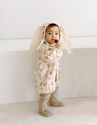Flower Bunny Romper and Bonnet Set Beige