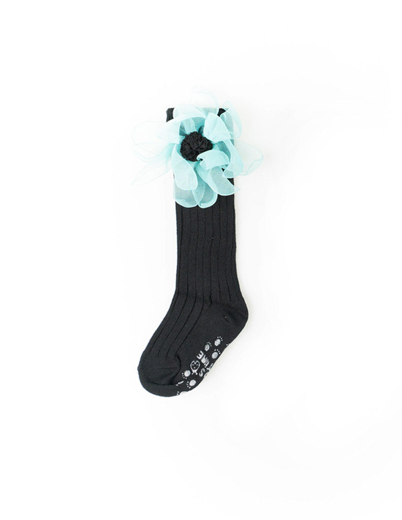 Flower Mesh Knee Socks Black
