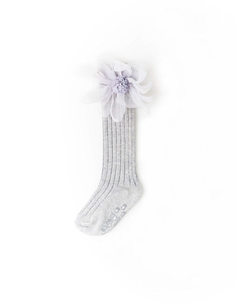 Flower Mesh Knee Socks Grey