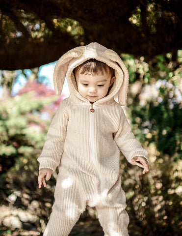 Fluffy Bunny Ear Jumpsuit Cream