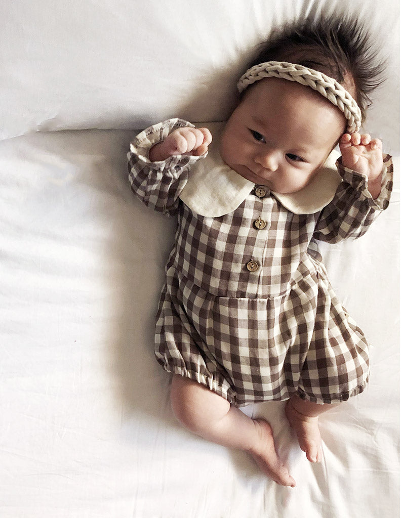 Honey Cara Suit Romper Brown Check