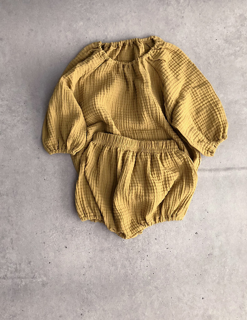 Ijinji Blouse and Bloomer Set Mustard