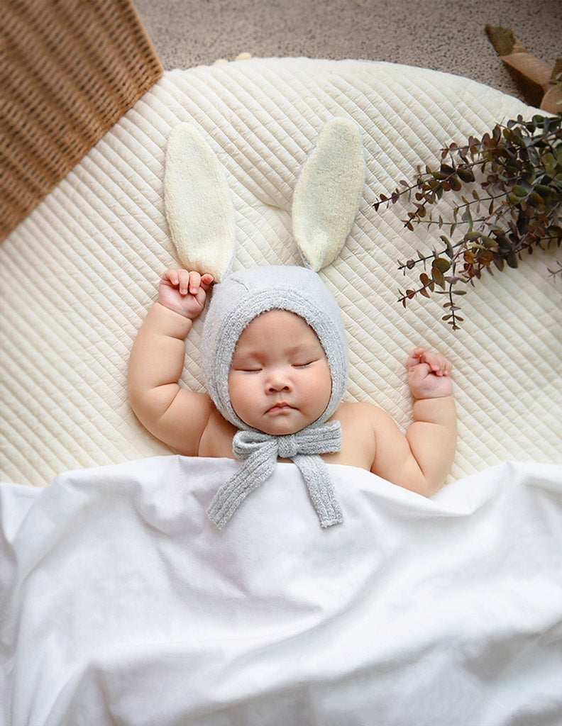 Knitted Bunny Bonnet Grey Blue