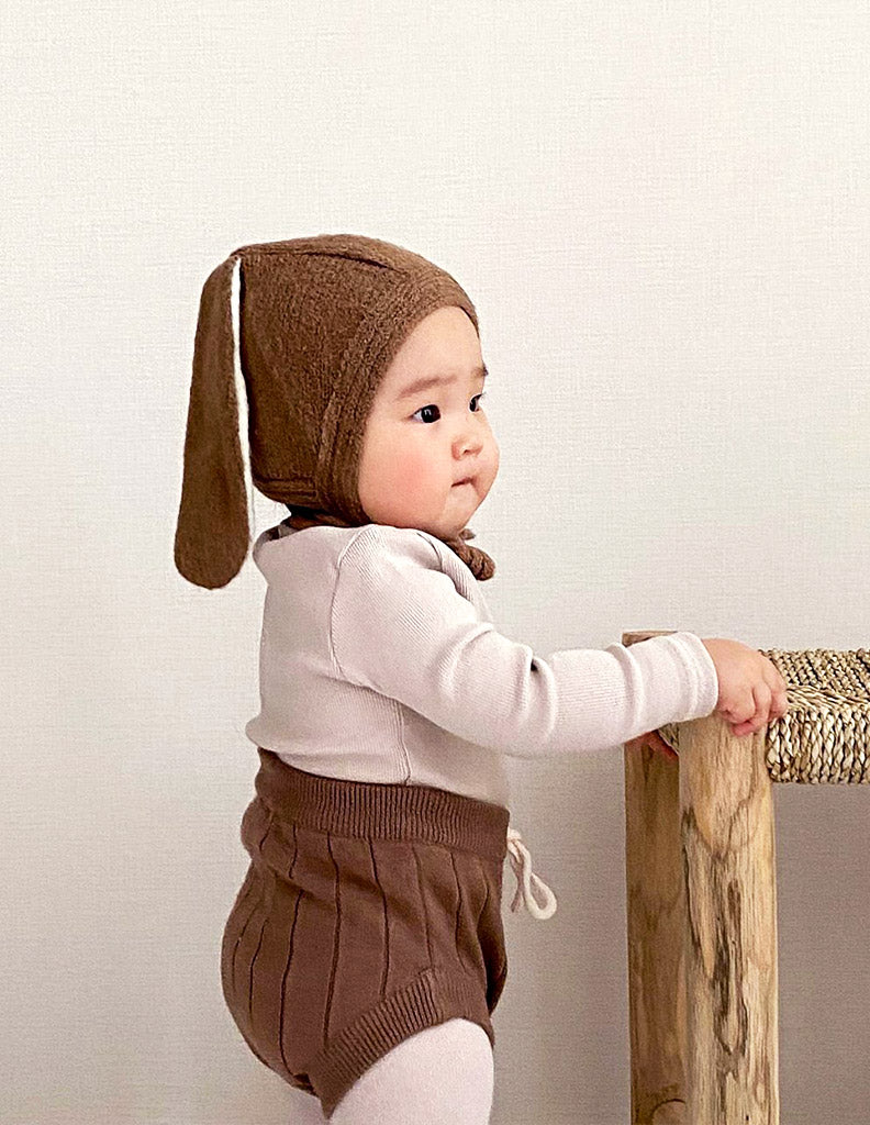 Knitted Bunny Bonnet Brown