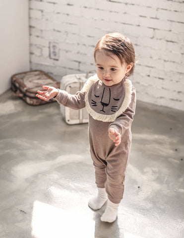 Lion Bib Jumpsuit Grey