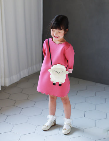 Little Lamb Pocket Dress Fuchsia